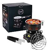 Hornillo de Carbon Eléctrico Portátil Quemador de Carbón con Asa Desmontable Temperaturkontrolle para Cocina Café Carbones y Camping (600W)
