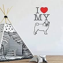 Ajcwhml Cita Creativa Amo a mi Perro Vinilo Adhesivo de Pared En Forma de corazón Tienda de Mascotas Ventana Arte Mural Interior Hogar 32x57cm