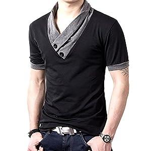 ONE LIMITATION(ワン リミテーション) スタイリッシュ Vネック 半袖 & 長袖 Tシャツ スカーフ風 カットソー メンズ (半袖 ブラック,4XL)
