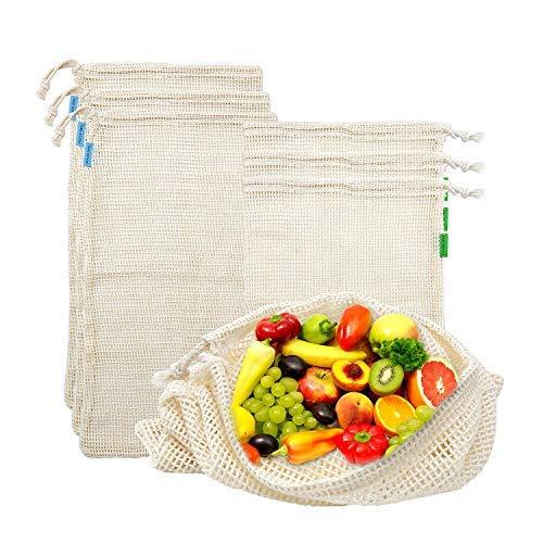 ZOEON Bolsas de Malla Reutilizables de Algodón para Frutas y Verduras, Set de 6(3M, 3L)