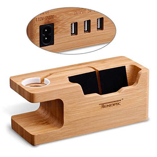 USB Charging Stand - Tendak Phone Stand with 3 USB Port Bamboo Wood Charging Dock Station for 38mm and 42mm Apple Watch