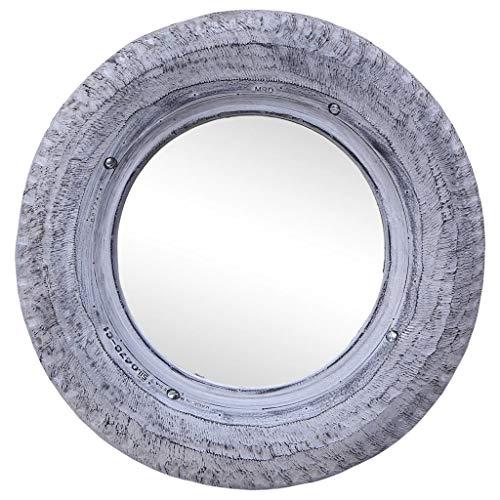 HUANGFINPI Color: Blanco Espejo de Caucho de neumático Reciclado Blanco 50 cm