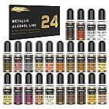 Metallic Alcohol Ink Set - 20 Colori Vivaci ad Alta concentrazione di Inchiostro metallico a Base di...