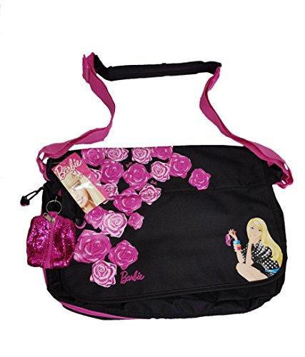 Barbie School College Laptop Travel Shoulder Multiple Pocket Messenger Bag with Free Accessory Purse