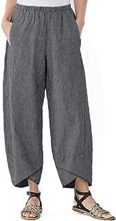 kaiCran Women's Linen Pants Elastic Waist Relax Fit Lantern Cropped Pants Trousers with Pocket (L, Gray)