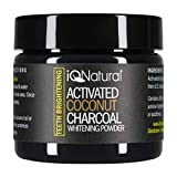 IQ Natural's Best Teeth Whitening Activated Coconut Charcoal Powder | Eliminates bad breath, coffee and Tea Stains - 100% Organic and Natural