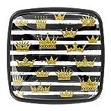 Goldren Crown On Black White Stripe - Pomos de cristal para cajón, cajones, tiradores de cristal, 4 unidades