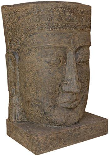 korb.outlet XXL Wasserlauf Steinguss Khmer Kopf/Angkor Watt Brunnen Buddha Figur Garten-Teich/Stein-Figur Lavastein Wasserfall Outdoor frostfest (190cm)
