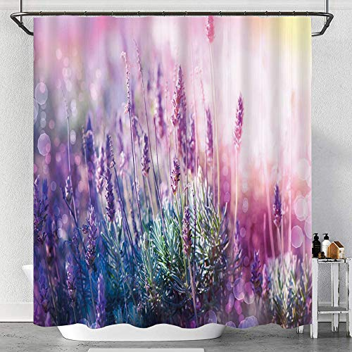 Gggo waterproof Shower Curtain,Fantasy Dreamlike Herbal Meadow Close View Nature Theme,Fabric Bath Curtains with Hooks