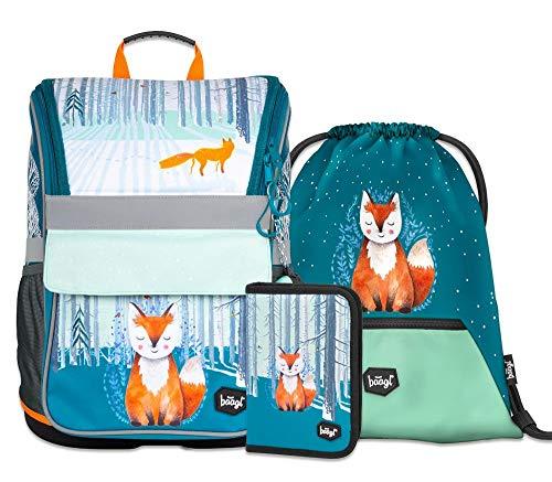 Schulranzen Mädchen Set 3 Teilig - Zippy Schultasche ab 1. Klasse - Grundschule Ranzen mit Brustgurt - Ergonomischer Schulrucksack (Foxie)