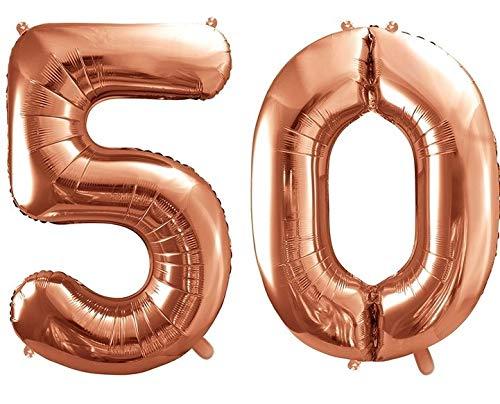 Unbekannt Balle XXL/Numéro 50 en Or Rose/Balle d'anniversaire/50 Anniversaire Mariage Anniversaire/Décoration de Mariage/Année/Décoration