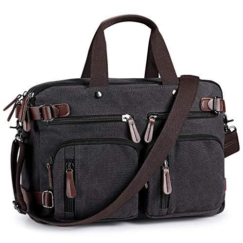 14-15.6 Inch Vintage 3-Way Convertible Canvas Laptop Messenger Shoulder Bag Briefcase Backpack for HP Stream - 14, Spectre x360-15-ch011nr / 15.6 Acer Aspire 5, Predator Triton 500 (Black)