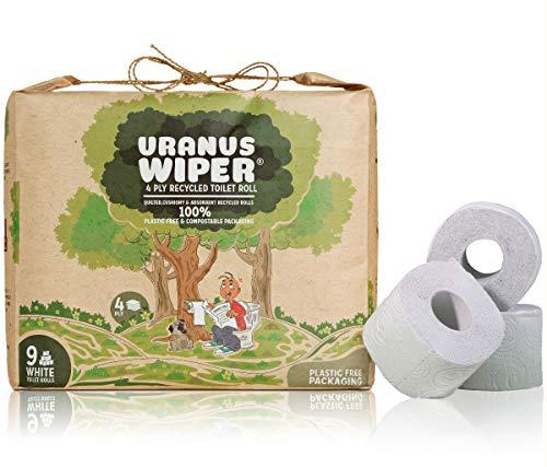 Uranus Wiper® Toilettenpapier | 100% ökologische, recycelt, OHNE Kunststoffverpackung | 4-Lagige Sanftes Weiß Klopapier | Riesenpackung von 9 WC Papier Rollen für einen guten sozialen Zweck