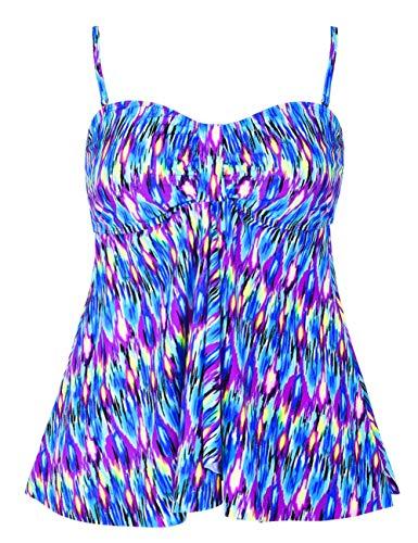 Hilor Women's Flyaway Tankini Top Bandeau Swimsuit Flowy Bathing Suit Blue Pop Pattern 18