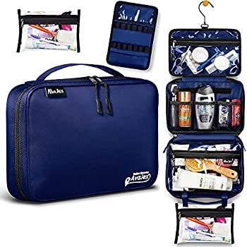 Medium Hanging Travel Toiletry Bag for Men and Women - Toiletry Organizer - Portable Waterproof Hygiene Bag with 2 Detachable Pounches YKK Zippers and 5 Compartments for Toiletries Makeup Cosmetics