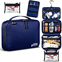 Medium Hanging Travel Toiletry Bag for Men and Women - Toiletry Organizer - Portable Waterproof Hygiene Bag with 2 Detachable Pounches, YKK Zippers and 5 Compartments for Toiletries, Makeup, Cosmetics