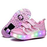 Zapatillas de deporte con luz LED, zapatos de carga USB, zapatos de patinaje para niñas y niños con ruedas para niños, los mejores regalos para niños, zapatos con luz led (tamaño: 29, color: A)