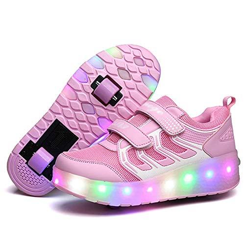 LED Light Up Sneakers Schoenen Schoenen USB Opladen Roller Skate Schoenen Meisjes Jongens Met Wielen Voor Kinderen Beste Geschenken Kids LED Lichtschoenen Ademend Schoenen(Size:30,Color:EEN)