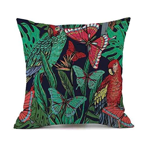 Mamum -Cotton Linen Square Decorative Throw Pillow Case Cushion Cover with Papillon 18X18 (F)