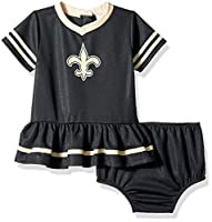 NFL New Orlean Saints Baby-Girls 2-Piece Football Dress Set, Black, 3-6 Months