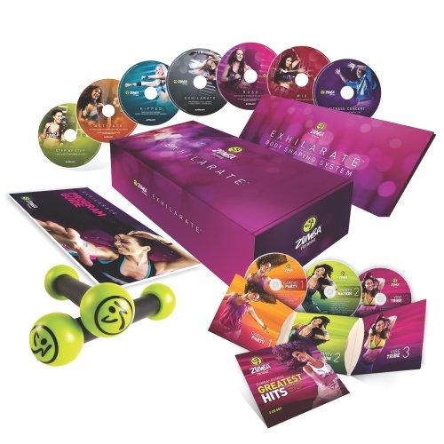 """Zumba Fitness """"Exhilarate, Set aus 7 DVDs, Englisch/Französisch, mit Toning Sticks, Greatest Hits CD"""