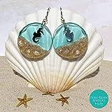 Blue Hawaii - Pendientes de aro de caballito de mar con arena de playa real, joyería de ópalo blanco, octubre piedra de nacimiento, plata de ley 925, pendientes de resina náutica - ER22