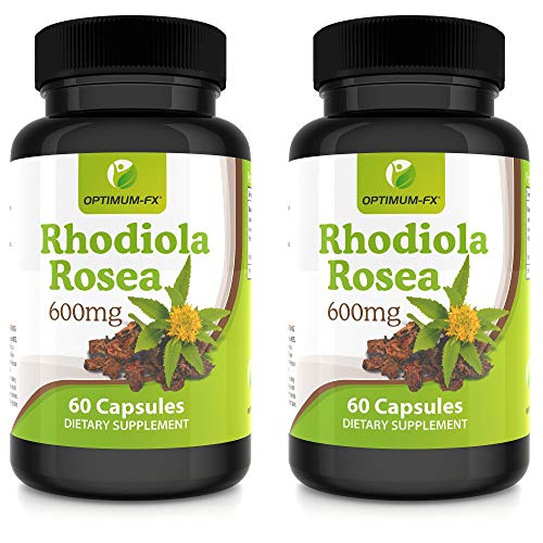 Suplemento de Cápsulas de Extracto Puro de Rhodiola Rosea de Alta Potencia 600 mg Premium 3% Rosavina 1% Salidrosida NO Tabletas o Polvo 60 Cápsulas Vegetales por Frasco 2 Meses de Suministro