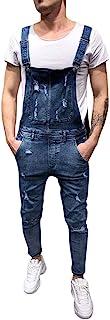 Petos de Pantalones Vaqueros de Mono para Hombre Pantalones de Bolsillo Rotos Pantalones de Liga Babero Pantalón