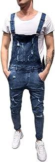 2019 Newest Men's Overall Casual Jumpsuit Jeans, Wash Broken Pocket Trousers Suspender Pants