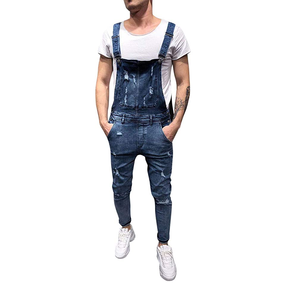 Xiloccer Men's Big and Tall Overall Casual Jumpsuit Jeans Wash Broken Pocket Trousers Suspender Pants