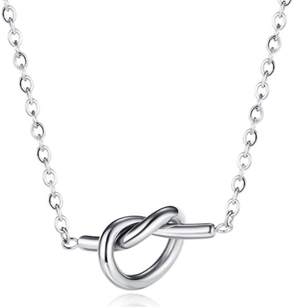 Jude Jewelers Stainless Steel Heart Knot Charm Cocktail Party Statement Collar Necklace