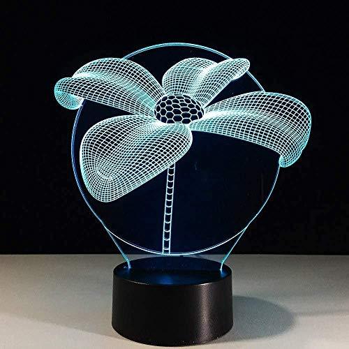 Luz nocturna 3D de 7 colores de cambio de ilusión visual flor de loto luz nocturna de mesa lámpara de escritorio de dormitorio de los niños fiesta de Navidad decoración de iluminación