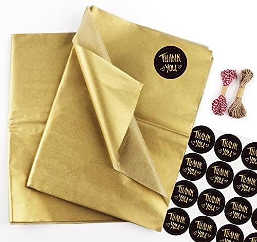 Sweelov Seidenpapier 50 Blatt 50 x 70cm Gold bastelpapier Papier Transparentpapier zum Pompoms Verpacken Tischdeko DIY,Kartengestaltung, Dekorieren