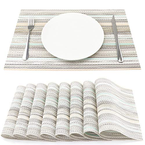 SueH Design Salvamanteles Individuales Juego de 8, Manteles en PVC para Comedor 45 * 30 CM(Teal)