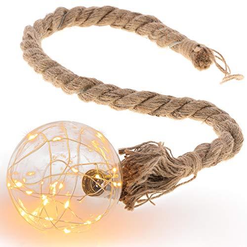 """LED Dekoleuchte """"Kugel"""" am Seil 20 LED warm weiß Batterie Timer Seillänge 75 cm Weihnachtsdeko Deko-Seil Deko-Kugel Leuchtkugel Lichtkugel"""
