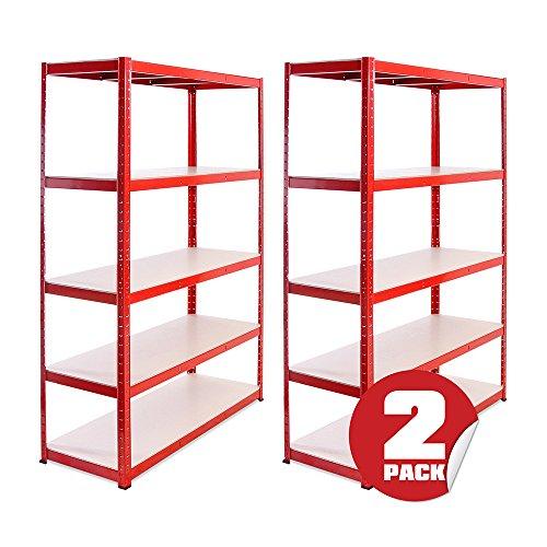 Garage Shelving Units: 180cm x 120cm x 45cm | Heavy Duty Racking Shelves for Storage - 2 Bay, Red 5 Tier (265KG Per Shelf), 1325KG Capacity | For Workshop, Shed, Office | 5 Year Warranty