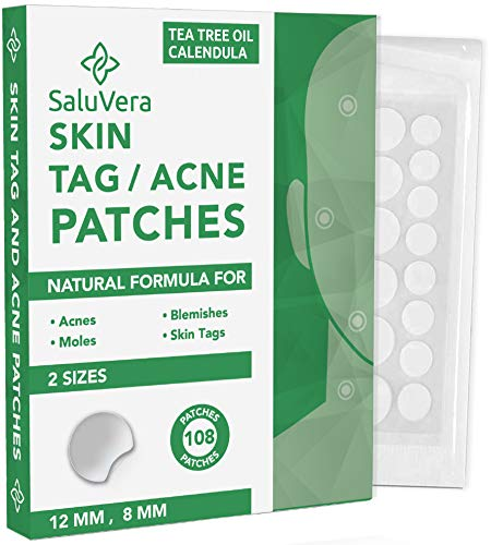Saluvera Skin Tag Remover Patches (108 PCS) | Mole Remover Skin Tag Removal Treatment | Natural Endtag Skin Tag Remover for All Skin Types | Improved Formula Acne tag Mole Remover