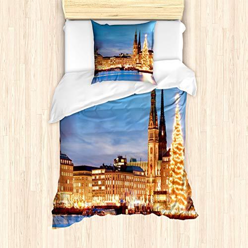 ABAKUHAUS Hamburg Bettbezug Set für Einzelbetten, Deutschland Altstadt Foto, Milbensicher Allergiker geeignet mit Kissenbezug, Mehrfarbig