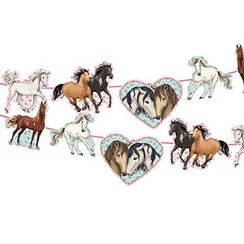 Neu 2019: 3m Girlande * Tapirella Pferde * als Deko für Kindergeburtstag und Motto-Party | 11361 | Pferde Pony Reiten Kinder Geburtstag Motto Mädchen