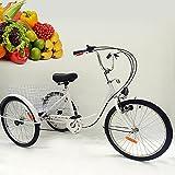 Triciclo para adultos, 24 pulgadas, triciclo para adultos, 6 velocidades, bicicleta para adultos, 3 ruedas para adultos, triciclo cargo con cesta de la compra, triciclo senior (color blanco)