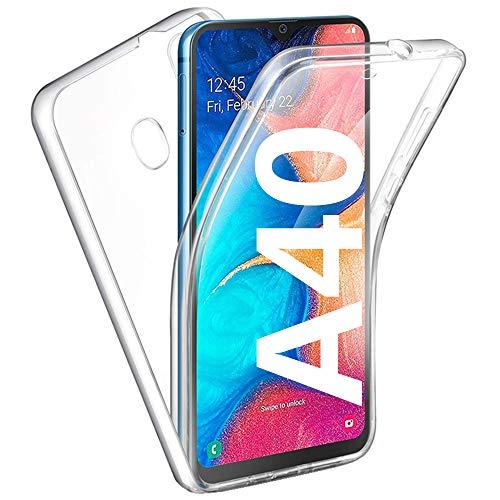 HUANGTAOLI Cover per Samsung Galaxy A40, Custodia Crystal Case TPU PC Protezione 360° Fronte Retro Full Body (SM-A405F, SM-A405FN/DS, 5.9')