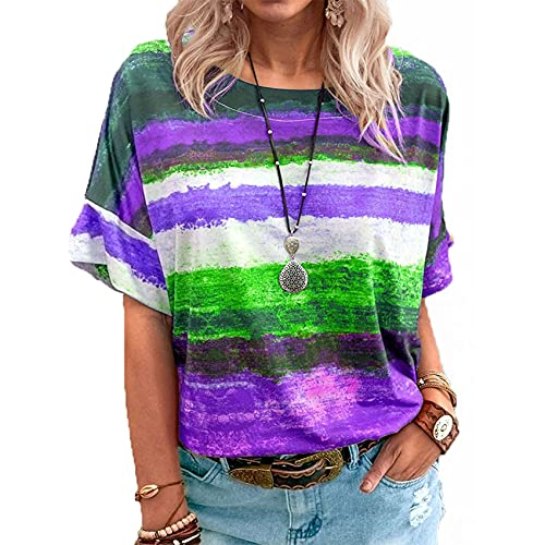 Summer New Women's Tops Gradient Striped Round Neck Short Sleeved T Shirt Women's Casual Loose Plus Size Clothing Purple