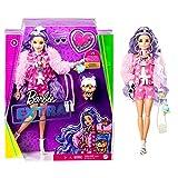 Barbie - Extra Bambola Capelli Viola con Cucciolo e Tanti Accessori, Giocattolo per Bambini 3+Anni, GXF08