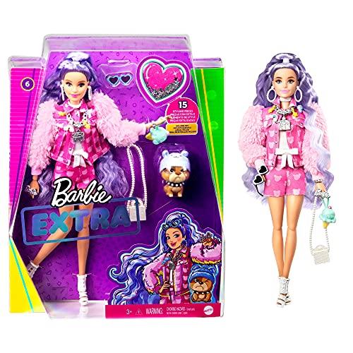 Barbie - Extra Bambola con Cucciolo, Giocattolo per Bambini 3+Anni, GXF08