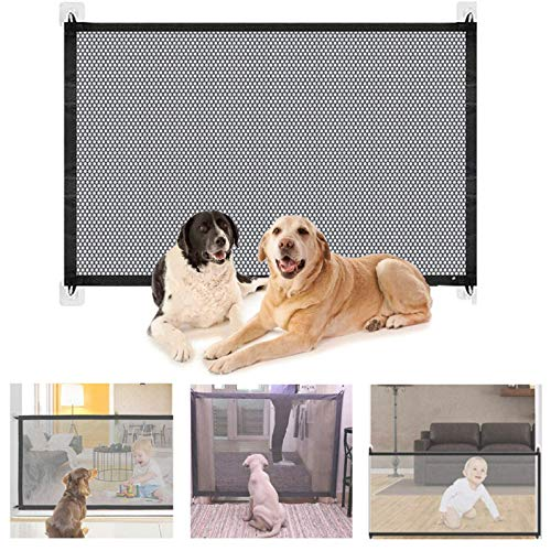 Bibykivn Puerta Mágica para Perro,Puerta Mágica para Mascotas o Bebés Barrera Seguridad Perros,Portón Portátil y Plegable Magic Gate Dog,para en Escaleras en Interiores y Exteriores (S 110x70CM)