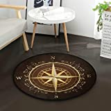 ZZAEO Gold Compass Rose Ornate Round Area Rug Soft Comfort Floor Mat Carpet with Non Skid Backing for Home Bedroom Decor - 3 Feet Diameter (92 cm)