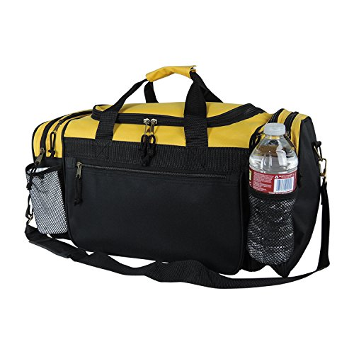 Dalix 20 Inch Sports Duffle Bag with Mesh and Valuables Pockets, Gold