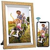 Digitaler Bilderrahmen WiFi 10-Zoll YENOCK Foto und Video sofort über App/Facebook/Twitter/E-Mail teilen Überall Touchscreen-Display, automatische Drehung, Bewegungssensor, 16 GB Speiche