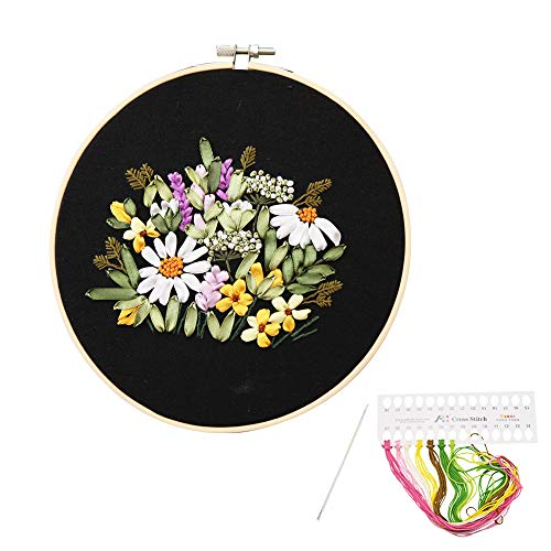 Full Range of Silk Ribbon Embroidery Kits with Flower Pattern for Embroidery Beginners-Black (7251a)
