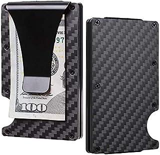 Santo Carbon Fiber Slim Minimalist Front Pocket Wallet Credit Card Case Holder RFID Blocking 7Mm Thin Metal Mini Money Cli...